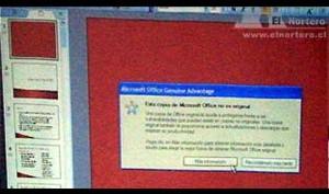 Mensaje de Software no original de Microsoft Office
